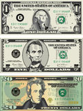 American bills. Three detailed, stylized drawings of $1, $5 and $20 American bills. Also available in vector format stock illustration