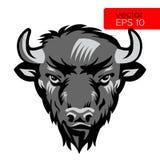 American Bison Bull Mascot Head Vector Illustration. Black And White Buffalo Head Animal Symbol. Royalty Free Stock Photo