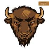 American Bison Bull Mascot Head Vector Illustration. Buffalo Head Animal Symbol. Stock Photos