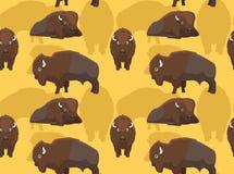 American Bison Cartoon Seamless Wallpaper Royalty Free Stock Photo