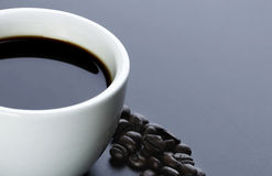 American Black Coffee With Beans - clipping path Stock Photo