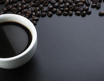 American Black Coffee With Beans Royalty Free Stock Photography