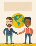American and black guy happily handshaking Royalty Free Stock Images
