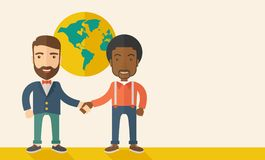 American and black guy happily handshaking Stock Image
