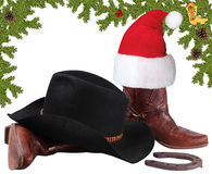 American black hat with cowboy boots.Christmas objects isolated Stock Images