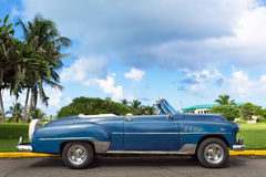American blue Cabriolet Oldtimer parked in Varadero Cuba - Serie Kuba 2016 Reportage Stock Image