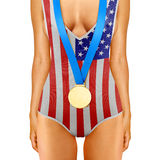 American body with gold medal Royalty Free Stock Image