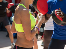 American Boy and Caucasian Girl: Fitness and Boxing Workout with Stock Images