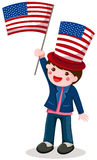 American boy holding flag. Illustration of isolated cute boy holding American flag on white Royalty Free Stock Images