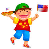 American boy. American kid holding a hotdog and waving the USA flag Royalty Free Stock Photography