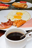 American Breakfast. Wonderful morning breakfast, Coffee, Fried egg, Sausage, Ham And Bacon Stock Image