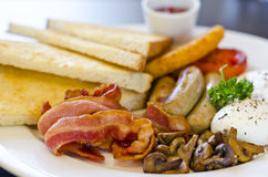American Breakfast. Close-up of Breakfast set with bacon and eggs Royalty Free Stock Image