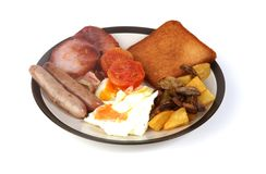 American breakfast. On a plate royalty free stock photography