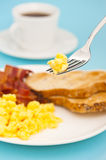American breakfast, bacon and scrambled egg Stock Photography