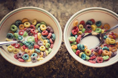 American breakfast. Cereals and milk Stock Photos