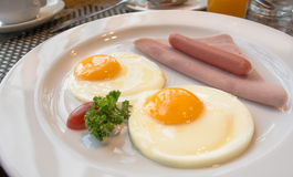 American breakfast. Cooked  and looks delicious  in restaurant Royalty Free Stock Photography