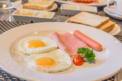 american Breakfast cooked and looks delicious in restaurant Royalty Free Stock Photo