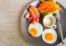 American Breakfast on Gray Plate at The Corner used as Template Stock Photography