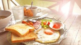 American Breakfast near River vintage tone have Sun light Stock Photography