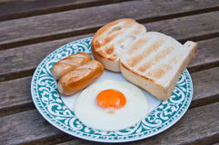 American breakfast on the old plate. American breakfast on plate and old wooden background stock photos