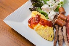 American breakfast on plate. American breakfast on white plate Stock Photos