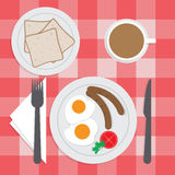 American breakfast set on the table, Fried egg, Sausages, Bread, Stock Photography