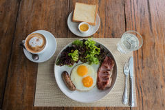 American breakfast by top view Royalty Free Stock Images