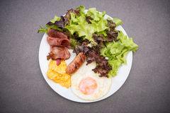 American breakfast on white dish Royalty Free Stock Photos