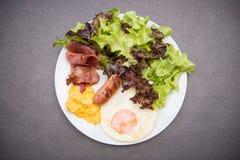 American breakfast on white dish Royalty Free Stock Photos