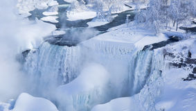 American and Bridal Veil Falls in Winter Gadb Royalty Free Stock Images