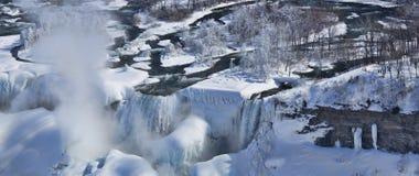 American and Bridal Veil Falls in Winter Gadb Stock Photo
