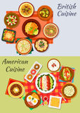 American and british cuisine icon for menu design. American and british cuisine dishes icon with fast food hot dog, fries, fish and chips, donut, fried egg with Royalty Free Stock Photography