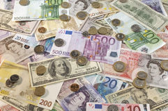 American, British And Euro Currency Stock Image