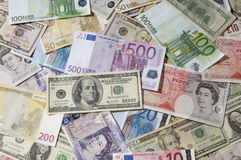 American, British And Euro Paper Currency Royalty Free Stock Images