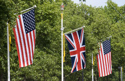 American and British Flags. The American and British Flag during the State visit of The American President Barack Obama on the 25 May 2011. The Mall heading to Stock Photo