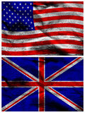 American and British silk flags Stock Photo