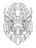 American buffalo head zentangle stylized, vector, illustration, Royalty Free Stock Photo