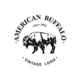 American buffalo logo inked vector Royalty Free Stock Images