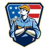 American Builder Carpenter Hammer Crest Retro Stock Images