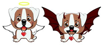 Devil Dog with horns and bat wings and happy dog angel. American bulldog puppy. Devil Dog with horns and bat wings and happy dog angel vector illustration