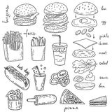 American burger food illustration collection Royalty Free Stock Photo