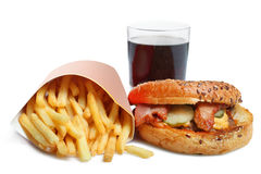 American burger, french fries and a glass of soda. Isolated on white background Stock Photo