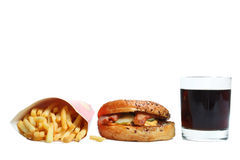 American burger, french fries and a glass of soda. Isolated on white background Stock Photos