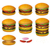 American Burgers All Size. Illustration of a set of various sized burgers, with combinations from classic hamburger to super giant burger Stock Photos