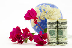 American business success in global market seen in dollars, glob Royalty Free Stock Photo