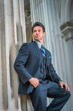 American Businessman waiting for you outside in New York Stock Images