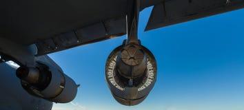 American C-17 Globemaster jet engine. Close up view of the rear of the engine of the American C-17 Globemaster transport jet airplane royalty free stock photo