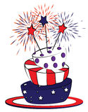 American cake. Cake decorated with american flag colors royalty free illustration