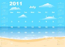 American calendar 2011 with tropic beach. Starting from Sundays - vector Stock Photography