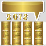 American calendar 2012. American calendar 2012 with golden banners and speech bubble vector illustration